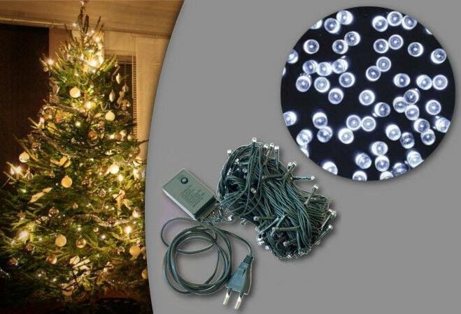 100 LED-es karácsonyi izzósor (hideg fehér)