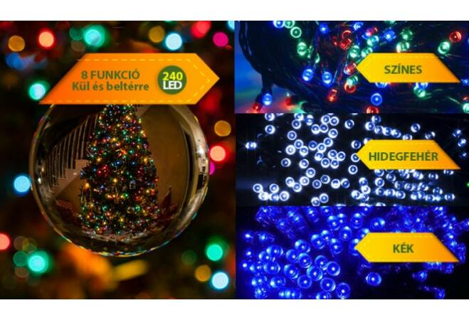 240 LED-es karácsonyi izzósor (színes)