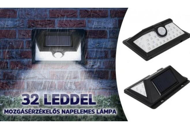 32 ledes mozgásérzékelős napelemes lámpa