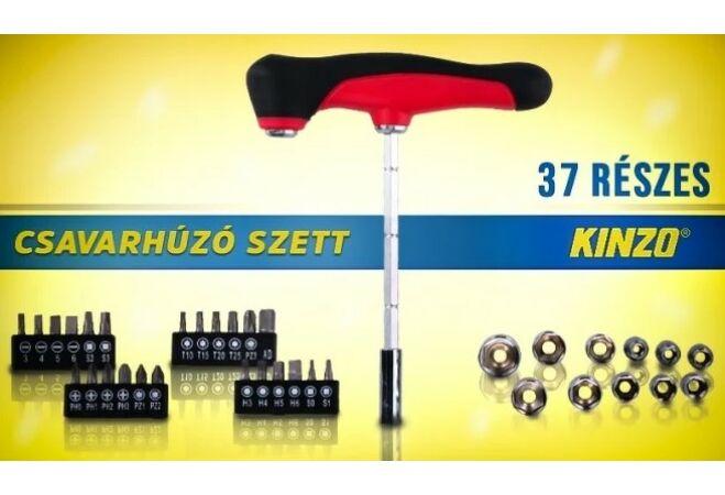 Kinzo Csavarhúzó szett 37db bit és dugókulcsfejekkel T-nyelű csavarhúzóval