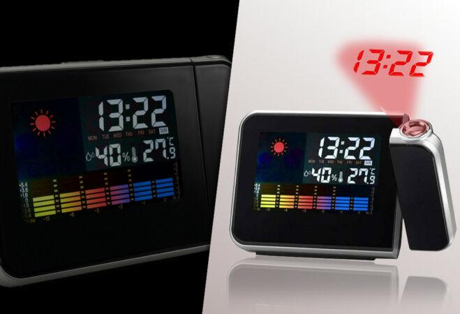 Időjárás állomás projektoros órával és ajándék elemekkel