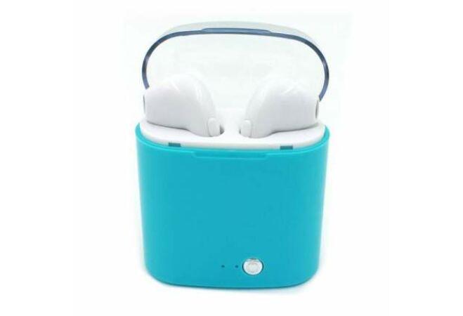 i7S tws páros bluetooth headset, töltő tokkal (Kék)