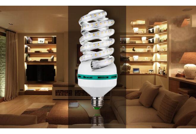9W prémium spirál LED izzó (E27, hideg fehér)