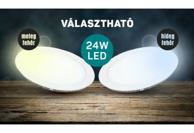 Mennyezeti LED panel (24W, kerek, melegfehér)