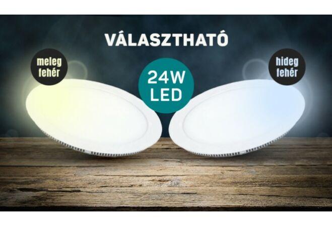 Mennyezeti LED panel (24W, kerek, hidegfehér)