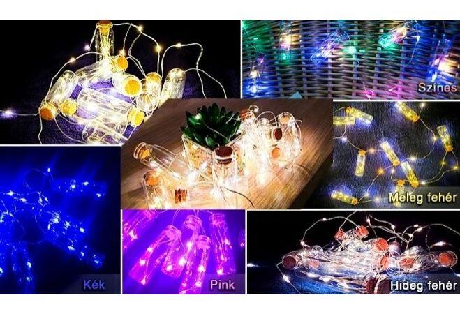 LED-es üvegpalack fényfüzér (Kék)