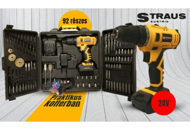 Straus akkus csavarozó 92 db kiegészítővel (24V, ST/CDD24-092)